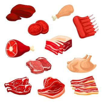 Vlees geïsoleerde pictogrammen illustratie