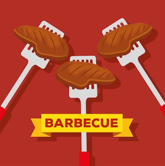 Vlees met plakjes maakt bezwaar tegen bbq-bereiding