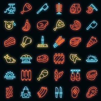 Vlees pictogrammen instellen. overzicht set van vlees vector iconen neon kleur op zwart