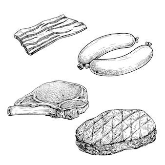 Vlees schets set. spekplak, worstjes, varkenssteak met rib en gegrilde biefstuk. slagerij handgetekende illustraties