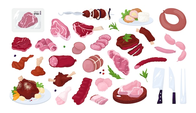 Vlees set van illustraties. vleeswaren assortiment van rundvlees, varkensvlees, lamsvlees, ronde biefstuk en biefstuk zonder been, hele poot, ribgebraad, lendenen en ribkoteletten, rustieke buik. collectie voor barbecue.