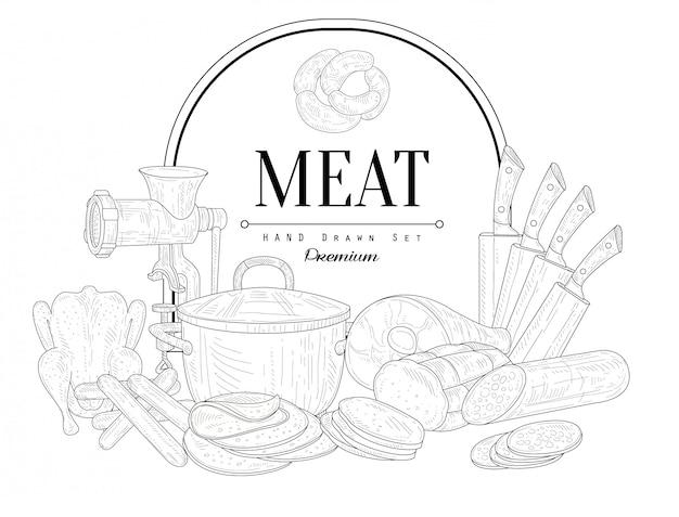 Vlees vintage schets