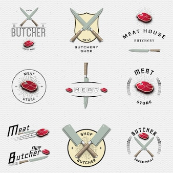 Vlees winkel badges logo's en labels voor elk gebruik