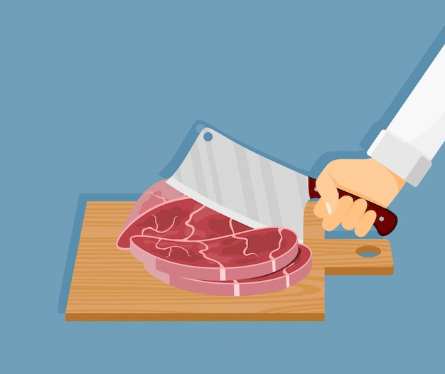 Vleeslapje vlees op houten raad met keukenmes dat wordt gehakt.