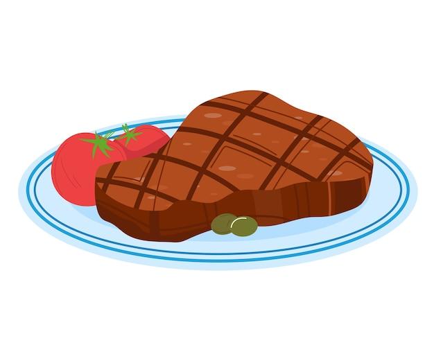 Vleespan, vers voedsel, koken, breezy slice steak, gebakken achtergrond, geïsoleerd op wit, ontwerp, vlakke stijl illustratie. diner geroosterde champignons, gegrild varkensvlees, peterselie barbecue-decoratie.