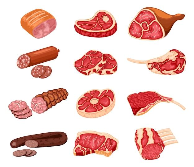 Vleesproducten. cartoon slagerij eten, kip, biefstuk, varkensvlees, prime rib, spek en worstjes.