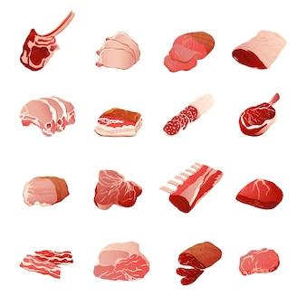 Vleesproducten icons set