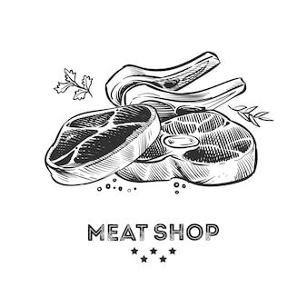 Vleesproducten, verse beafsteak en ribben hand getekende illustratie