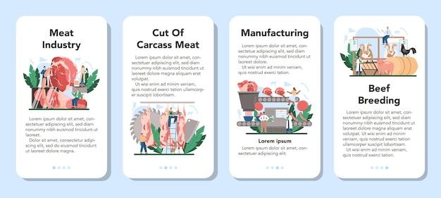 Vleesproductie-industrie mobiele applicatie banner set.