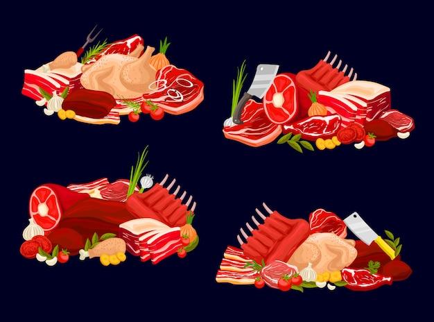 Vleessoorten kalfsvlees en rundvlees, varkensvlees, kip en schapenvlees