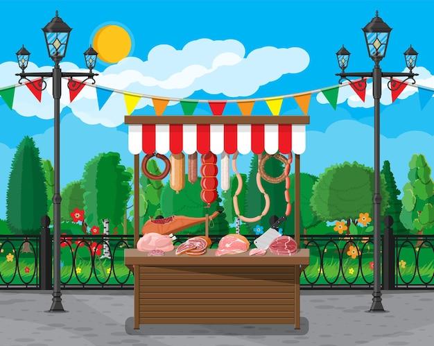 Vleesstraatmarkt van slagerij