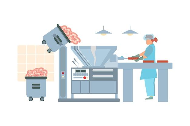 Vleesverwerkingsbedrijf platte illsutration werknemer in uniform maken van vleesproducten