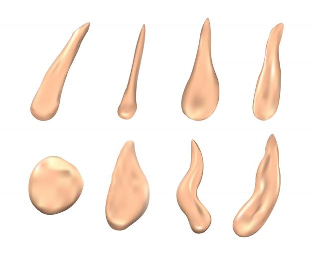 Vlekken van schoonheidscrème. set crèmevlekken voor schoonheid, vloeibaar gezichtsmake-upproduct
