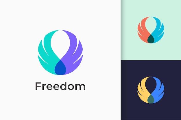Vleugel- of zwaanlogo staat voor vrijheid en sterk voor technologiebedrijf