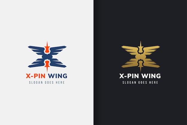 Vleugellocatie logo-ontwerpsjabloonontwerpcombinatie x kruisvleugel met pinlocatie aan de bovenkant Premium Vector