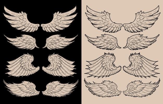 Vleugels illustratie pack ontwerp