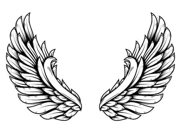 Vleugels in tattoo-stijl geïsoleerd op een witte achtergrond. ontwerpelement voor poster, t shit, kaart, embleem, teken, badge. vector illustratie