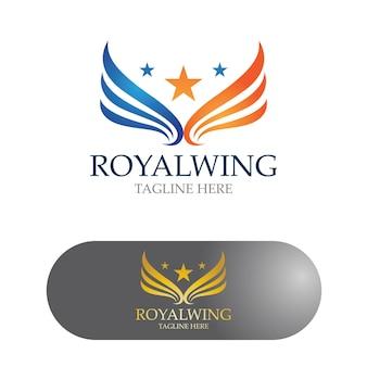 Vleugels logo ontwerp valk vogel vector afbeelding