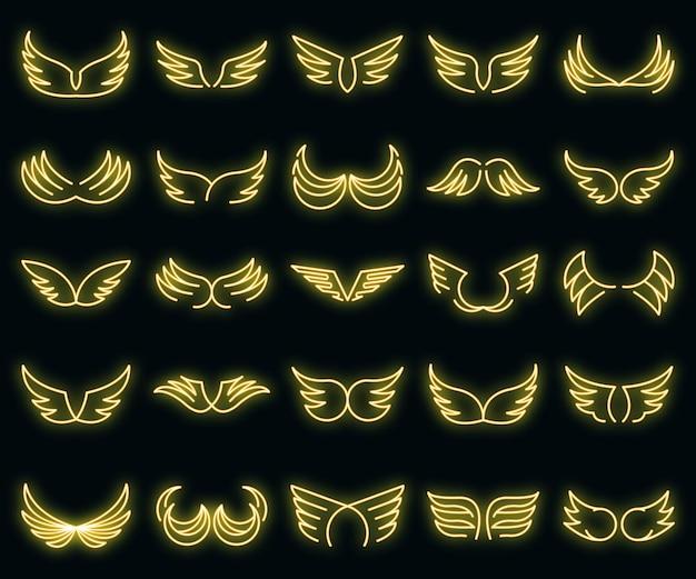 Vleugels pictogrammen instellen. overzicht set vleugels vector iconen neon kleur op zwart