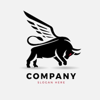 Vleugels stier logo ontwerp vector