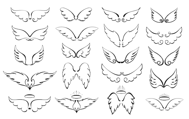 Vleugels zijn een grote set vleugels en halo engel gevleugelde glorie halo schattige cartoon doodles vectorillustratie