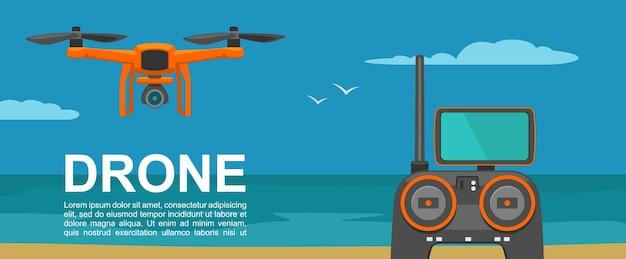 Vlieg drone met afstandsbediening op achtergrond dag zee vector egale kleur illustratie