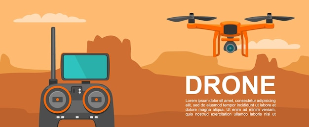 Vlieg drone met afstandsbediening op achtergrond zonsondergang berg vector egale kleur illustratie