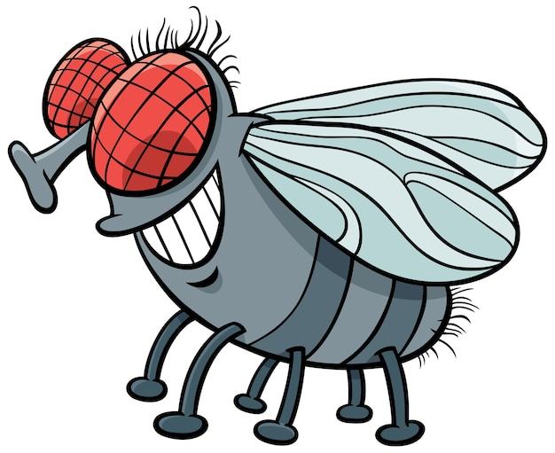 Vlieg insect karakter cartoon afbeelding