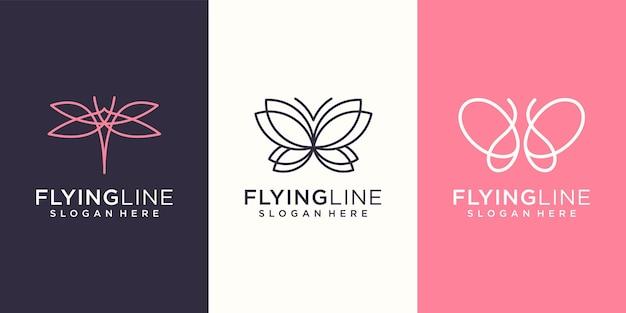 Vlieg monogram dierlijk logo ontwerpsjabloon inspiratie.
