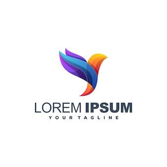 Vlieg vogel kleur logo ontwerp