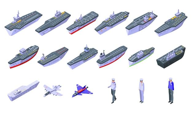 Vliegdekschip pictogrammen instellen. isometrische reeks vliegdekschippictogrammen voor web dat op witte achtergrond wordt geïsoleerd