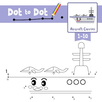 Vliegdekschip punt om spel en kleurboek te stippelen