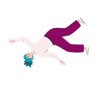 Vliegen of vallen in de lucht vrouw cartoon vectorillustratie geïsoleerd