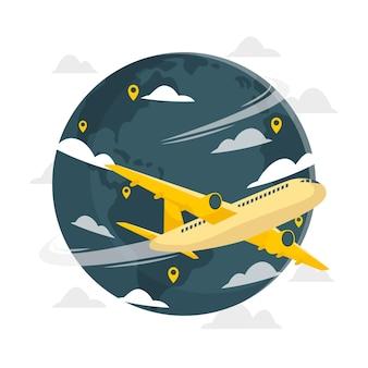 Vliegen rond de wereld concept illustratie