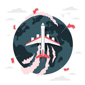 Vliegen rond de wereld (met vliegtuig) concept illustratie