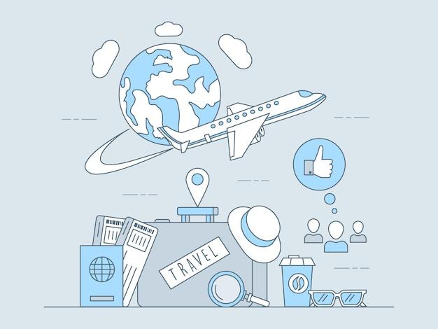 Vliegen rond het planeetvliegtuig, bagage met paspoort en kaartjes, borden met locatiepunten