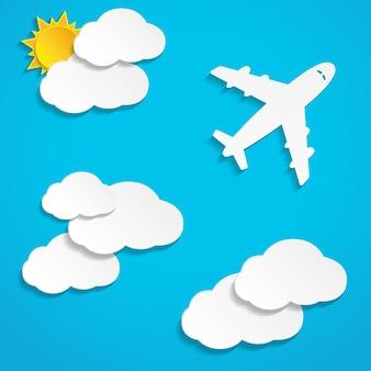 Vliegend document vliegtuig met wolken over blauw