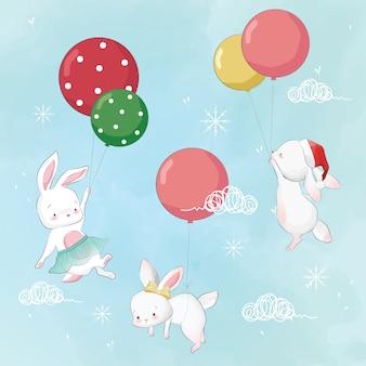 Vliegend konijntje met ballons in kerstmis Premium Vector