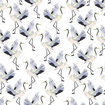 Vliegend kraan naadloos patroon