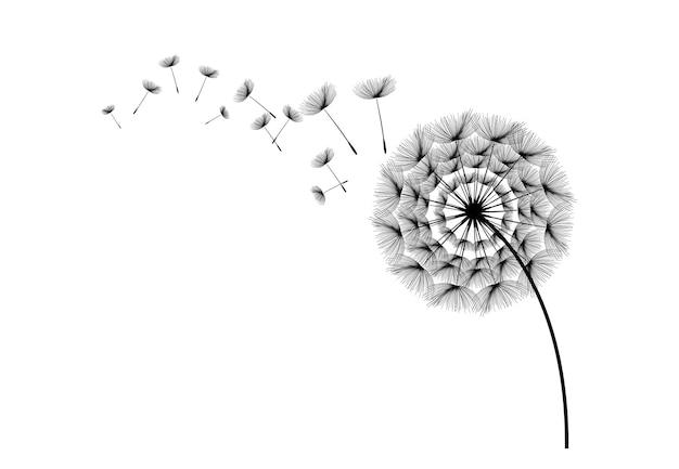 Vliegend paardebloemzaden vectorpictogram vector geïsoleerd decoratie-element van verspreide silhouetten