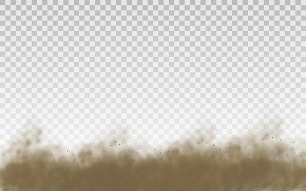 Vliegend zand, stofwolk, bruine rook realistische textuur