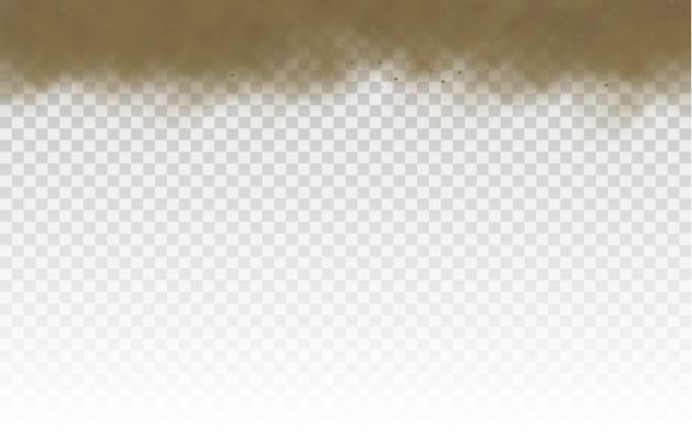 Vliegend zand. stofwolk. bruine stoffige wolk of droog zand dat met een windvlaag, zandstorm vliegt. bruine rook realistische textuur