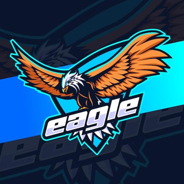 Vliegende adelaar mascotte esport logo
