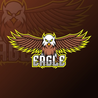 Vliegende adelaar mascotte gaming logo ontwerpsjabloon