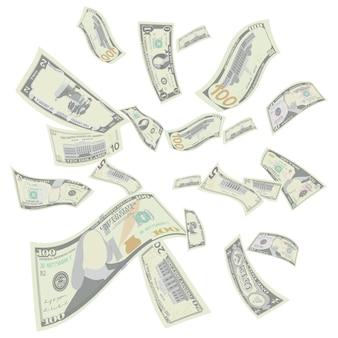 Vliegende amerikaanse dollars