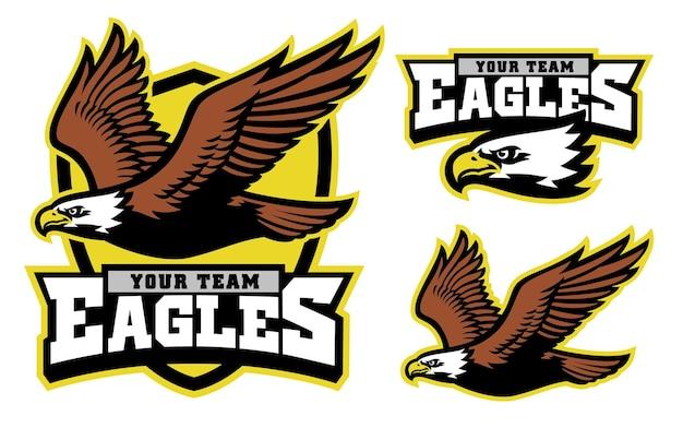 Vliegende bald eagle mascotte schild en logo