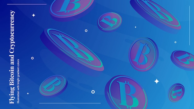 Vliegende bitcoin-achtergrond