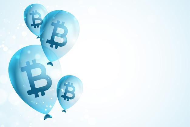 Vliegende bitcoin ballonnen concept achtergrond