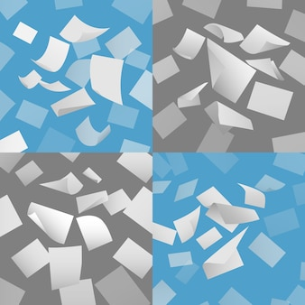 Vliegende blanco papier vellen vector set