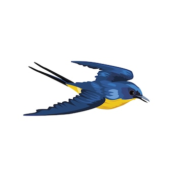 Vliegende blauwe vogel